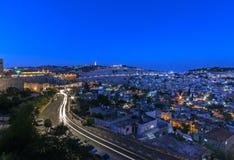 Israel jerusal?n Ciudad vieja La pared del sur Vista del monte de los Olivos, puesta del sol foto de archivo libre de regalías