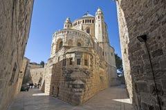 Israel - Jerusalem - abbotskloster av Dormitionen aka Hagia Maria Sio Royaltyfri Foto