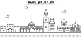 Israel, Jerusalem architecture line skyline illustration. Linear vector cityscape with famous landmarks, city sights royalty free illustration