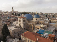 Israel - Jerusalem - Church of the Holy Sepulchre with old city Stock Photography