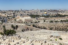 Israel Jerusalem, 09/11/2016 Härlig sikt av den gamla staden i Jerusalem på en ljus solig dag arkivfoton