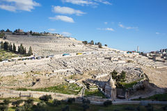 Israel, Jerusalem - The jewish cemetery on the Mount of Olives. Royalty Free Stock Photography