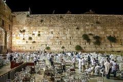 Israel Jerusalem am 15. Oktober 2015 Großes Buß- und Bettag Yom Kippurs wird an der Wehklage-Wand, Abend, jeder i gefeiert Stockfotografie