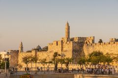 Israel, Jerusalem, September 11, 2018, pilgrims and tourists near the fortress walls of the Old City of Jerusalem, view of the stock photography