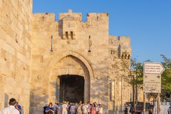 Fortress walls of old Jerusalem, view of the Jaffa Gate stock photo