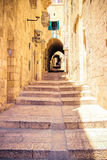 Israel, Jerusalem, stone streets. The tunnel with steps... Stock Image