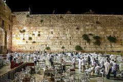 Israel Jerusalem 15th october 2015. Yom Kippur great Day of Atonement is celebrated at the Lamentation Wall, evening, everyone i. Israel Jerusalem 15th october Stock Photography