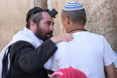 Two Jewish Men at western wall Stock Photos