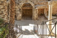 Israel, the old Byzantine, over 200 meters dug out shopping center called the Cardo under the Jewish quarter can be reached via th royalty free stock photography