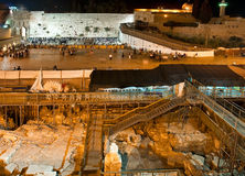 Israel. Jerusalem Western Wall at night. In the foreground, the archaeological excavations of ancient strata Stock Images
