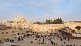 Israel, Jerusalem western wall. The Western Wall, Wailing Wall, Jewish shrine, old city of Jerusalem, Orthodox Jews pray stock video footage