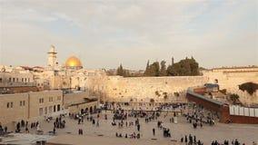 Israel, Jerusalem western wall. The Western Wall, Wailing Wall, Jewish shrine, old city of Jerusalem, Orthodox Jews pray stock footage