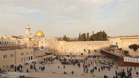Israel, Jerusalem western wall. The Western Wall, Wailing Wall, Jewish shrine, old city of Jerusalem, Orthodox Jews pray stock video