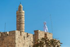 Israel Jerusalem, through the white dress on the roof of the wall around Jerusalem, the Jews announce the Jom-Kippur festival week. S in advance Stock Photo