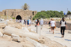 ISRAEL -July 30, - Tourists are going to be released in the park Caesarea, Israel, summer - 2015 in Israel Royalty Free Stock Images