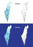 Israel-Karte in der geometrischen polygonalen Art Abstraktes Edelsteindreieck Stockbild