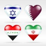 Israel-, Katar-, Irak- und Iran-Herzflaggensatz asiatische Staaten Stockfotografie