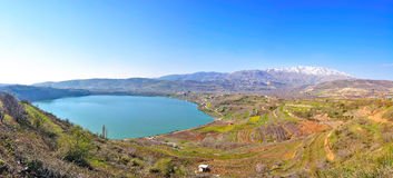 Israel Landscape. The Hermon mountain and Birkat Ram lake in the Golan Heights, Israel Stock Photo