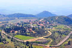 Israel Landscape. The Village Neve Ativ and Nimrod Fortress in the Golan Heights, Israel Royalty Free Stock Photos