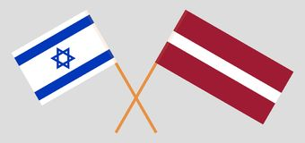 Israel and Latvia. The Israeli and Latvian flags. Official colors. Correct proportion. Vector. Illustration stock illustration