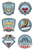 Israel loppsymboler och kulturvektorsymboler vektor illustrationer