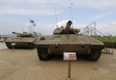 Israel made main battle tanks Merkava Mark III (L) and Mark II (R) on display at Yad La-Shiryon Armored Corps Museum Stock Images