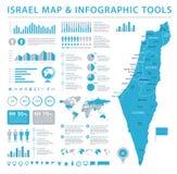 Israel Map - illustration graphique de vecteur d'infos Photos libres de droits