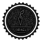 Israel Map Label com vintage retro projeto denominado ilustração do vetor