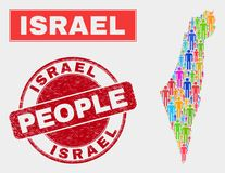 Israel Map Population Demographics e filigrana impuro ilustração do vetor