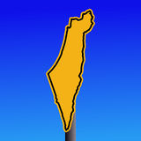 Israel map warning sign Stock Images