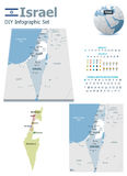 Israel maps with markers Royalty Free Stock Photos