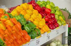 Israel market produce: colorful fresh bell peppers Stock Photo