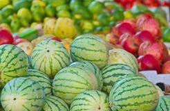 Israel market produce: plum, persimmon, pear Royalty Free Stock Photo