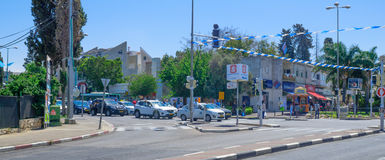 Israel Memorial Day. HAIFA, ISRAEL - MAY 11, 2016: Scene of Yom Hazikaron (Israel Memorial Day for its soldiers), with people and traffic observe a two-minute stock photos