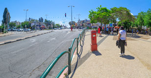 Israel Memorial Day. HAIFA, ISRAEL - MAY 11, 2016: Scene of Yom Hazikaron (Israel Memorial Day for its soldiers), with people and traffic observe a two-minute royalty free stock images