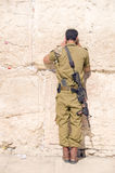 Israel military man praying The Western Wall Royalty Free Stock Photography