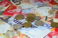 Israel money. Coins and bills 50, 100, 200 shekel Royalty Free Stock Photo