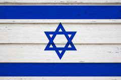 Israel national flag. Close-up of Israel national flag on wood royalty free stock photography
