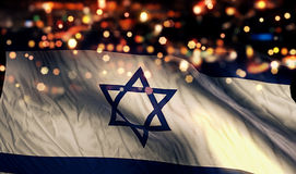 Israel National Flag Light Night Bokeh Abstract Background. Art royalty free stock photo
