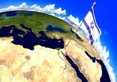 Israel nationsflagga som markerar landsläget på världskarta 3D tolkning, delar av denna bild som möbleras av NASA royaltyfri illustrationer