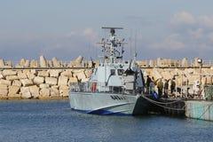 Israel Navy Patrol Boat Super Dvora Mk III in Hertzlija-Jachthafen Stockfoto