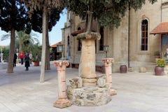 israel nazareth - Februari 17 2017 Grekisk ortodox kyrka av det första miraklet Arkivbild