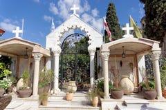 israel nazareth - Februari 17 2017 Grekisk ortodox kyrka av det första miraklet Arkivbilder