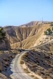 115/5000 Israel, Negev öken, sikt av en smal bergväg till och med negevöknen med vegetationen på båda sid Fotografering för Bildbyråer
