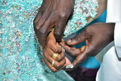 Israel, Negev, 2016 - Hands of Black bride and groom exchange rings Stock Photo