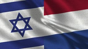 Israel and Netherlands Flag - Two Flags Together. Realistic wave with flags stock images