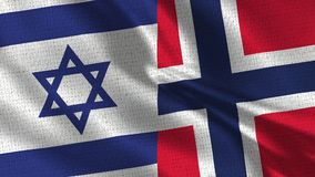 Israel and Norway Flag - Two Flags Together. Realistic wave with flags royalty free stock images