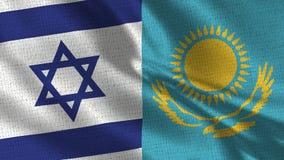 Israel och Kasakhstan flagga - två flaggor tillsammans royaltyfri bild
