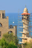 Israel in old Jaffa tower of the mosque in scaffolding royalty free stock photography