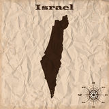 Israel old map with grunge and crumpled paper. Vector illustration Stock Images